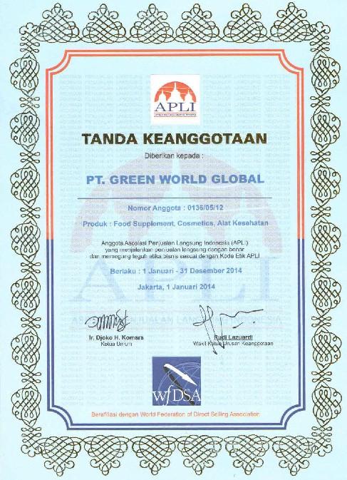 绿世界集团印尼分公司获得印尼直销协会颁发的直销牌照